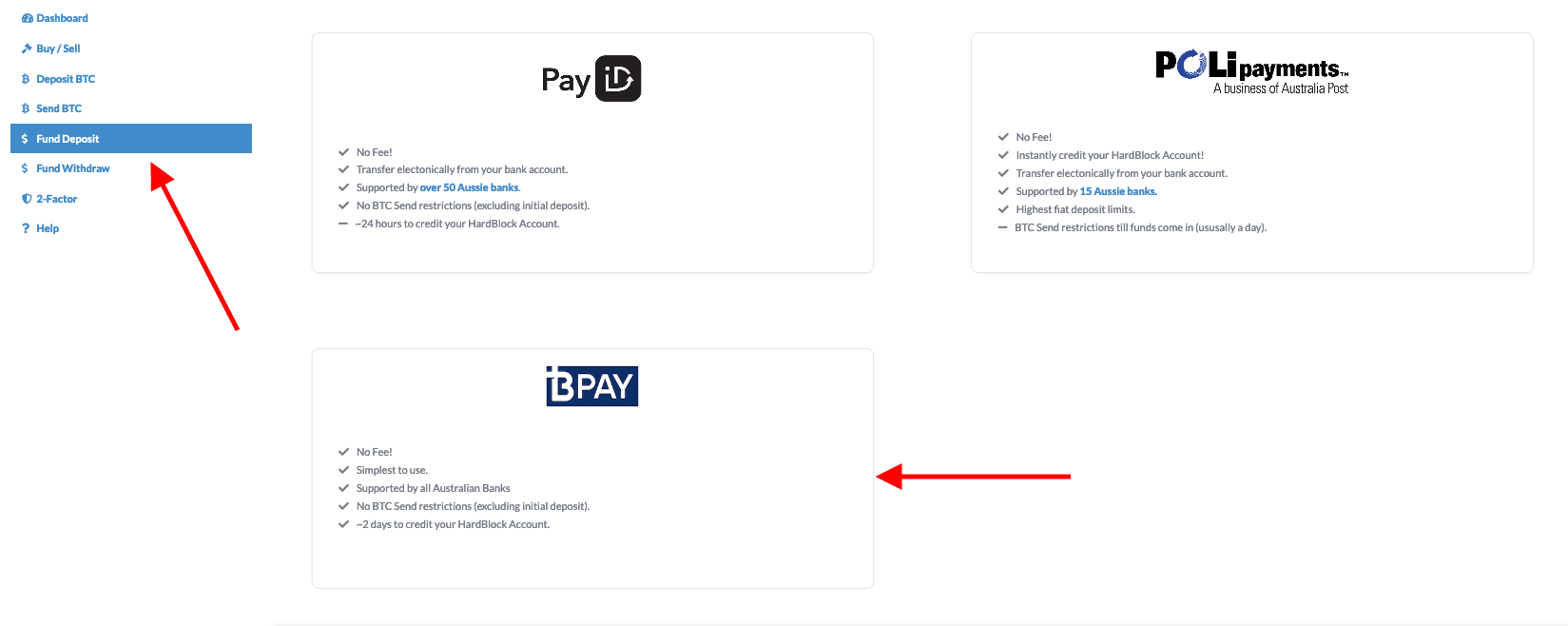 Choose BPAY as deposit method