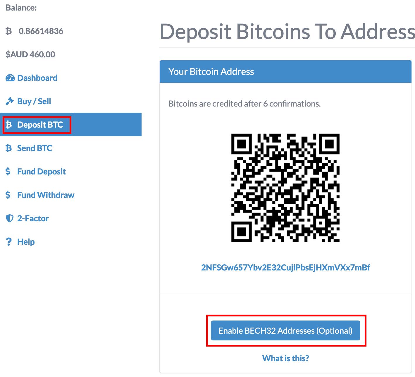 BECH32 Bitcoin address enable button